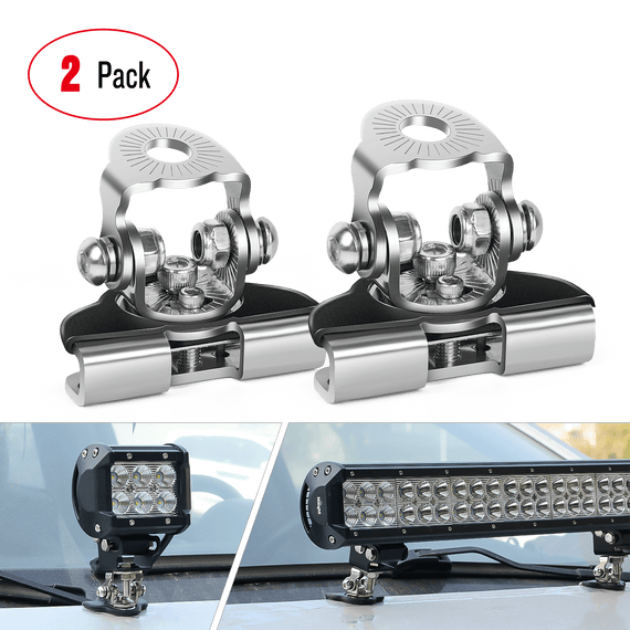 Nilight LED Light Bar Mounting Bracket 2 Pcs Universal Adjustable Pillar Hood Led Work Light Mount Bracket Clamp Holder for Off Road Jeep Truck SUV Installing Without Drilling, 2 Years Warranty