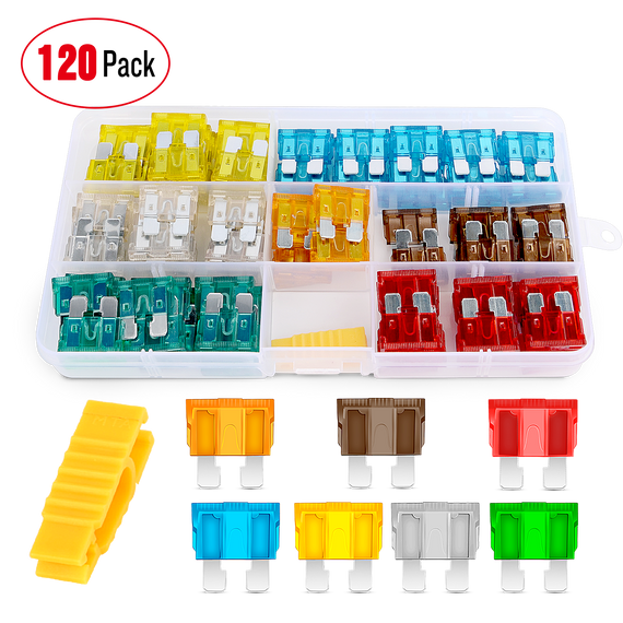 Nilight 120 pcs Standard Fuse Assortment kit - 5, 7.5, 10, 15, 20, 25, 30 AMP - Regular APR/ATO (Open)/ATC Blade Fuses for Cars, Trucks, Boats,Automotives,2 Years Warranty
