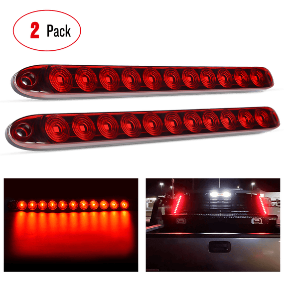 "Nilight 2PCS 16"" 11 LED Red Trailer Light Bar Trailer Marker ID Bar, 2 Years Warranty"