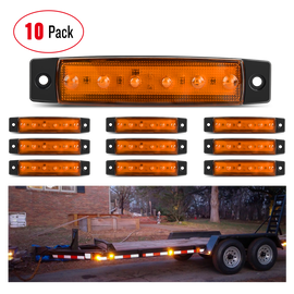 "Nilight 10PCS 3.8"" 6 LED Amber Side Marker Light Indicator Light Rear side Marker Light for Truck Trailer RV Cab Boat Bus Lorry LED Marker Light Clearance Light, 2 Years Warranty"