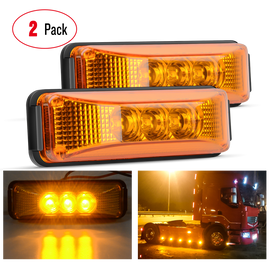 "Nilight 2 Pcs 3.9"" 3 LED Truck Trailer Amber Light Front Rear LED Side Marker Lights Clearance Indicator Lamp Perfect Sealed Waterproof Surface Mounted LED Marker Light, 2 Years Warranty"