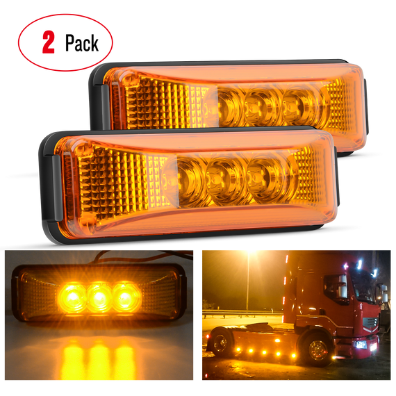 "Nilight 2PCS 3.9"" 3 LED Truck Trailer Amber Light Front Rear LED Side Marker Lights Clearance Indicator Lamp Perfect Sealed Waterproof Surface Mounted LED Marker Light, 2 Years Warranty"