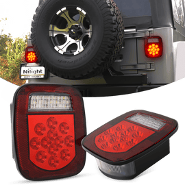 Nilight 2 Pcs 39W LED Universal Stop Turn Tail Light for Truck Trailer Boat Jeep, 12V Stud Mounted Red/White Lamp, 2 Years Warranty