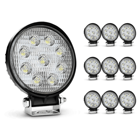Nilight 10PCS 4.5 Inch Round 27W Flood Offroad LED Driving Lamp, 2 Years Warranty