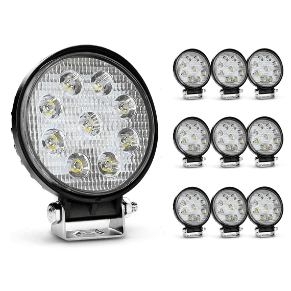 Nilight 10PCS 4.5 Inch Round 27W Spot Offroad LED Driving Lamp, 2 Years Warranty
