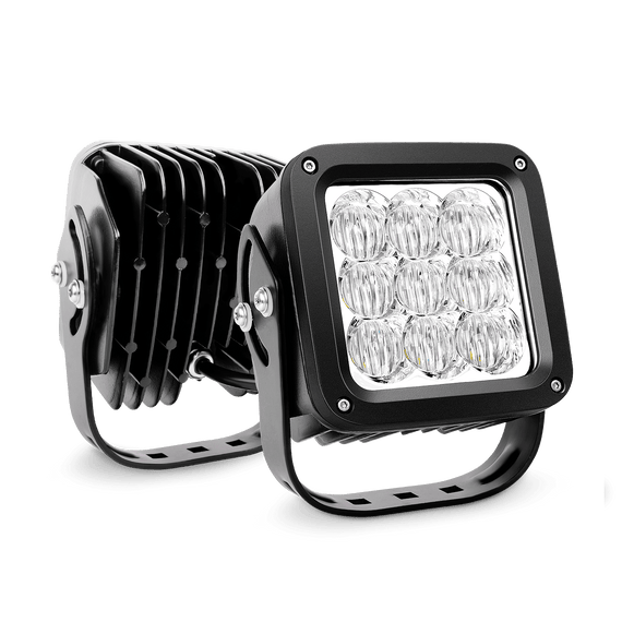 Nilight  2PCS 4.5 Inch Square 27W Flood LED Work Light 5D Projector Lens, 2 Years Warranty