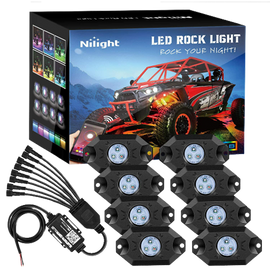 Nilight RGB LED Rock Lights Kit 8 pods Underglow Multicolor Neon Light Pod with Bluetooth App Control Timing Function Flashing Music Mode IP68 Exterior Wheel Well Light for ATV UTV