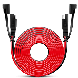 12FT Cable DC Extension Cord 16AWG 2 Pin Wire Harness with 12V-24V Quick Connect/Disconnect SAE Connector with Dust Cap, 2 Years Warranty
