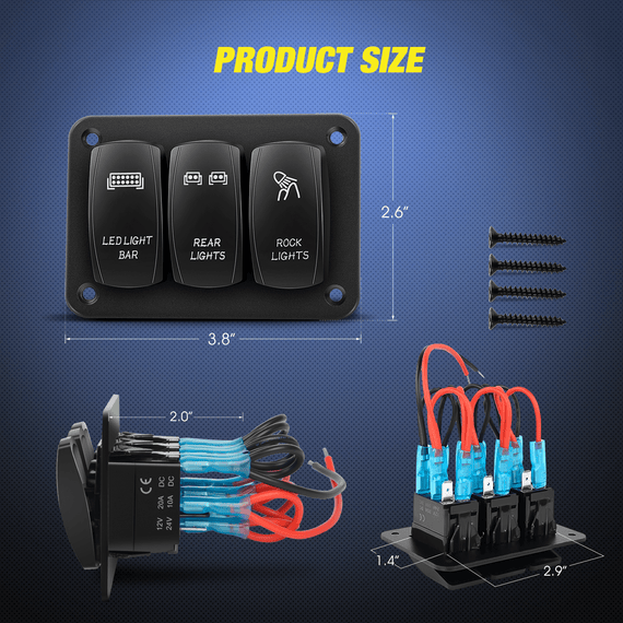 [DHAV_9290]  Nilight 3 Gang Aluminum Rocker Switch Panel 5 Pin ON/Off Pre-Wired Tog –  Nilight Led Light | Dc Rocker Switch Wiring Diagram |  | Nilight Led Light