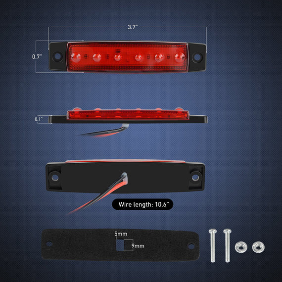 2 Years Warranty Nilight 10PCS 3.8 Inch 6 LED Red Side Marker Light Indicator Light Rear side Marker Light for Truck Trailer RV Cab Boat Bus Lorry LED Marker Light Clearance Light TL-15