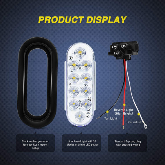 4 White Nilight TL-24 6 Inch Oval White LED Trailer Tail Lights with Flush Mount Grommets Plugs Reverse Back Up Trailer Lights for RV Truck