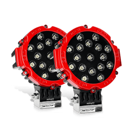 Nilight 2PCS 7 Inch Round 51W Spot LED Lights for Offroad Jeep JK, XJ, Subaru on Front Bumper, Windshield, Roof Rack, 2 years Warranty