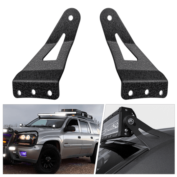 "Nilight 2PCS 54"" Curved LED Light Bar Bracket at Upper Windshield Roof Cab for 99-06 Chevy Silverado Suburban Avalanche Tahoe & GMC Yukon Sierra, 2 Years Warranty"