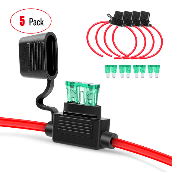 Nilight GA0004 5Pack 12AWG Inline Wiring Harness 12 Gauge ATC/ATO Automotive Holder with 30A Fuse Blade Standard Plug Socket-5 Pack, 2 Years Warranty