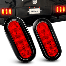 "Nilight 6"" Oval Red LED  Trailer Tail Light Stop Brake Turn Lights for RV Truck, 2 Years Warranty"