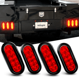 "Nilight 6"" Oval Red LED Trailer Tail Lights 4PCS 10 LED w/Flush Mount Grommets Plugs IP67 Waterproof Stop Brake Turn Trailer Lights for RV Truck Jeep, 2 Years Warranty"