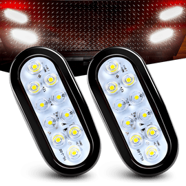 "Nilight 6"" Oval White LED Trailer Tail Lights 2PCS 10 LED w/Flush Mount Grommets Plugs IP67 Waterproof Reverse/Back Up Trailer Lights for RV Truck Jeep, 2 Years Warranty"
