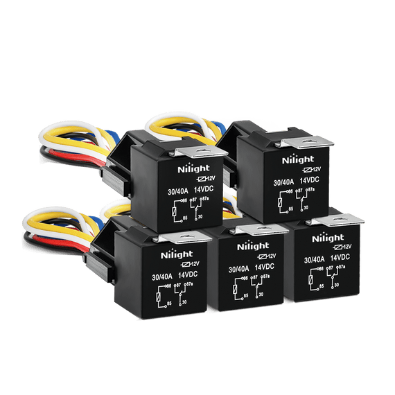 5 pack Nilight Automotive Relay Harness Set 5Pin 3040A 12V SPDT