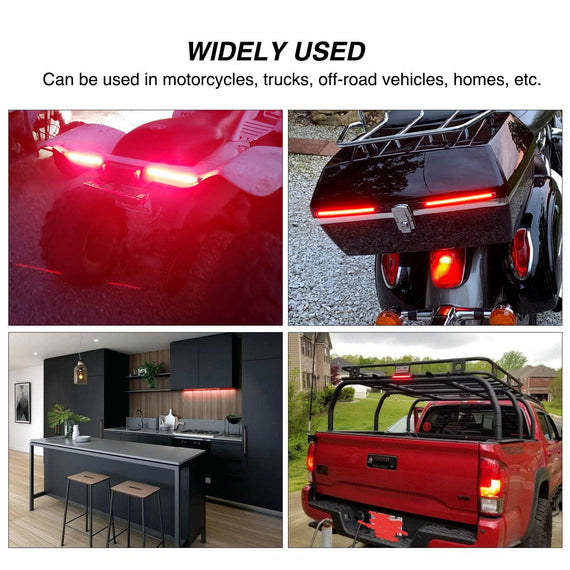 Evary 8 Flexible Bendable 3258 LED Light Strip Waterproof for Motorcycles Cars SUV ATV Electric Cars 2-Pack Universal Motorcycle Tail Brake Stop Turn Signal License Plate Light