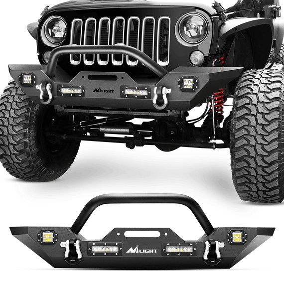 Nilight JK-51A Front Bumper Compatible for 07-18 Jeep Wrangler JK & Unlimited Rock Crawler Bumper with 4 x LED Lights, Winch Plate and 2 x D-Rings,Upgraded Textured Black,2 Years Warranty