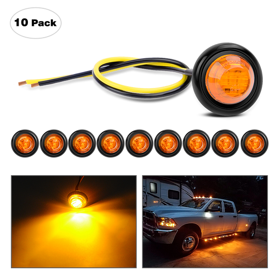 "Nilight 10 PCS 3/4"" Round LED Clearance Light Front Rear Side Marker Indicator Light Bullet Marker Light (12V, Amber), 2 Years Warranty"