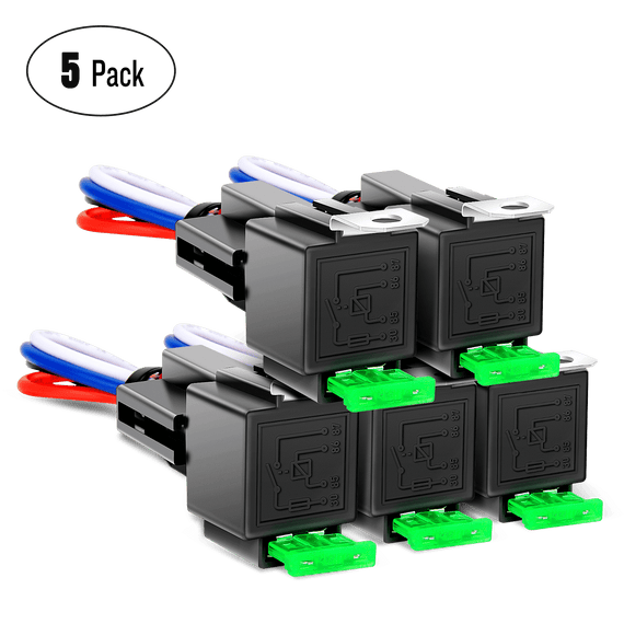 Nilight 5-Pack Relay Socket Kit-Relay with 30A Fuse & Switch Harness Set-12V DC 4-Pin SPST Automotive Relays 14 AWG Hot Wires-Auto Switches & Starters Set, 2 Years Warranty