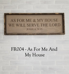 FR004 - As For Me And My House