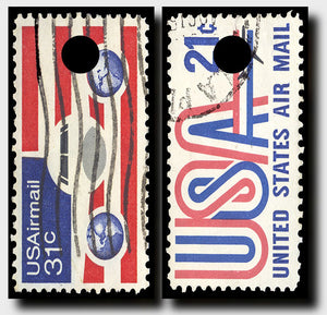 70's AIRMAIL STAMPS 24x48 cornhole board wraps - SET OF 2 - BG Boards and Graphics LLC