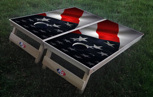 3D AMERICAN WAVING FLAG 3/4 hardwood tournament grade cornhole set with matching bags - BG Boards and Graphics LLC  - 1