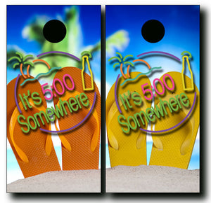 5 O'CLOCK SOMEWHERE FLIP FLOPS 24x48 cornhole board wraps - SET OF 2 - BG Boards and Graphics LLC