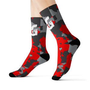 Red, Black and Gray Camo BG Rockin' Socks
