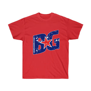 Red, White and Blue Slant BG Unisex Ultra Cotton Tee