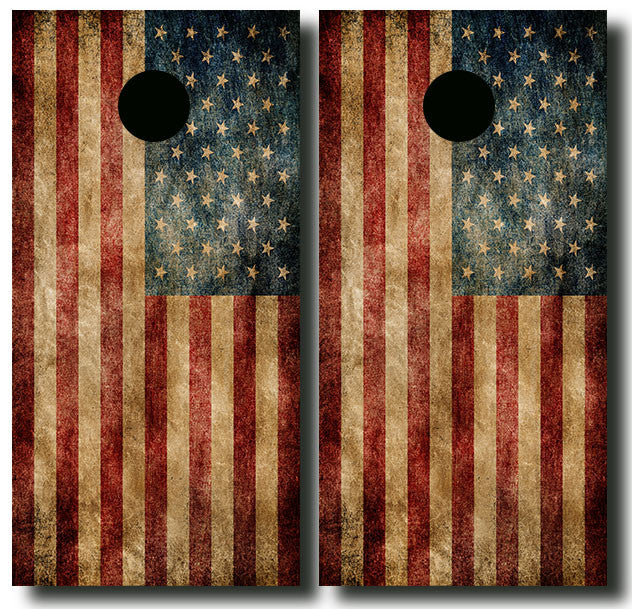 AMERICAN GRUNGE FLAG 3/4 hardwood tournament grade cornhole set with matching bags - BG Boards and Graphics LLC  - 2