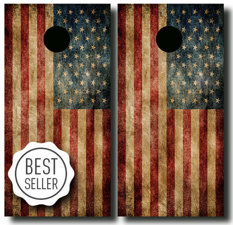 DISTRESSED AMERICAN FLAG 24x48 cornhole board wraps - SET OF 2 - BG Boards and Graphics LLC  - 1