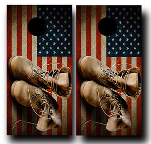 ARMY BOOTS ON AMERICAN FLAG 24x48 cornhole board wraps - SET OF 2 - BG Boards and Graphics LLC