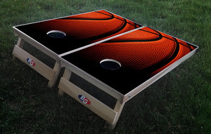 BASKETBALL 3/4 hardwood tournament grade cornhole set with matching bags - BG Boards and Graphics LLC  - 1