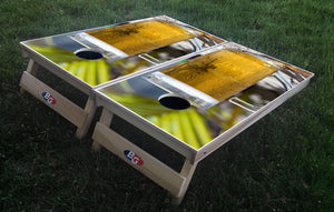 BEER ON THE BEACH 3/4 hardwood tournament grade cornhole set with matching bags - BG Boards and Graphics LLC