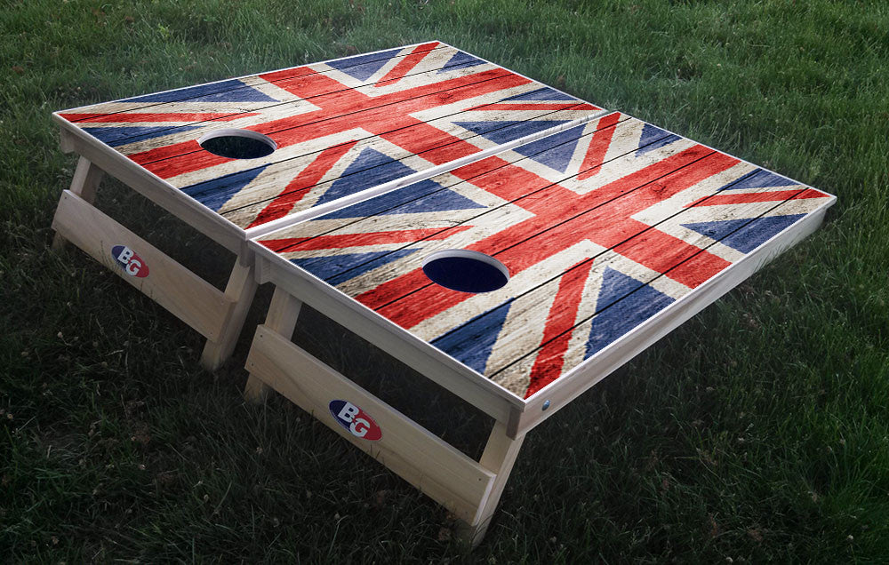 BRITISH GRUNGE FLAG 3/4 hardwood tournament grade cornhole set with matching bags - BG Boards and Graphics LLC  - 1