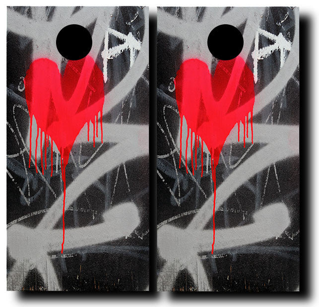 BLEEDING HEART 24x48 cornhole board wraps - SET OF 2 - BG Boards and Graphics LLC