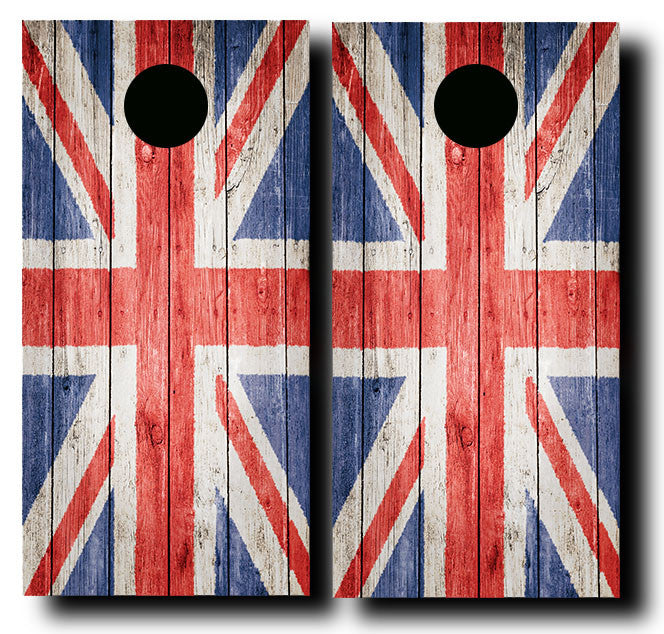 BRITISH GRUNGE FLAG 3/4 hardwood tournament grade cornhole set with matching bags - BG Boards and Graphics LLC  - 2