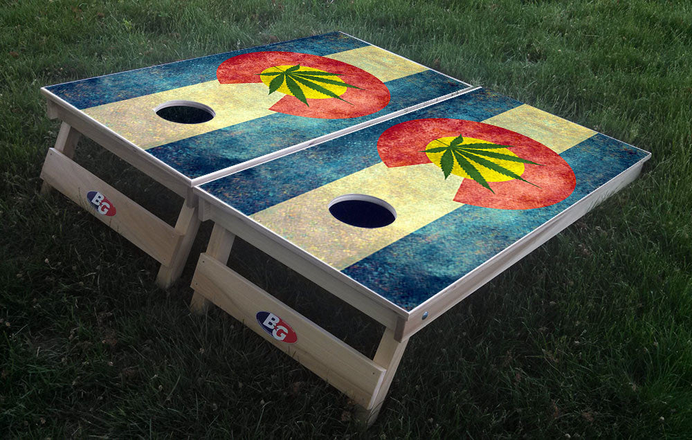 COLORADO CANNIBUS FLAG 3/4 hardwood tournament grade cornhole set with matching bags - BG Boards and Graphics LLC  - 1