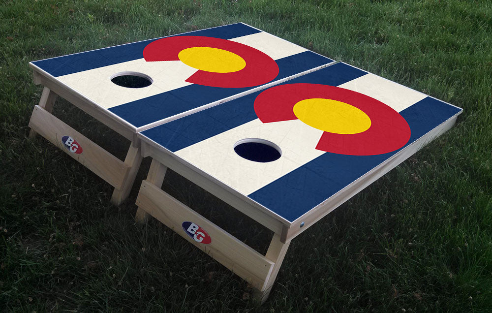 COLORADO GRUNGE FLAG 3/4 hardwood tournament grade cornhole set with matching bags - BG Boards and Graphics LLC  - 1