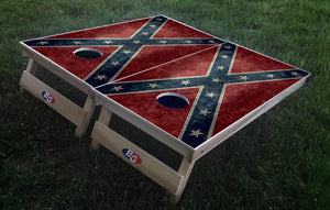 CONFEDERATE GRUNGE FLAG 3/4 hardwood tournament grade cornhole set with matching bags - BG Boards and Graphics LLC  - 1