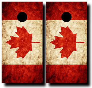 CANADIAN GRUNGE FLAG 24x48 cornhole board wraps - SET OF 2 - BG Boards and Graphics LLC