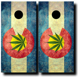 COLORADO CANNIBUS GRUNGE FLAG 24x48 cornhole board wraps - SET OF 2 - BG Boards and Graphics LLC
