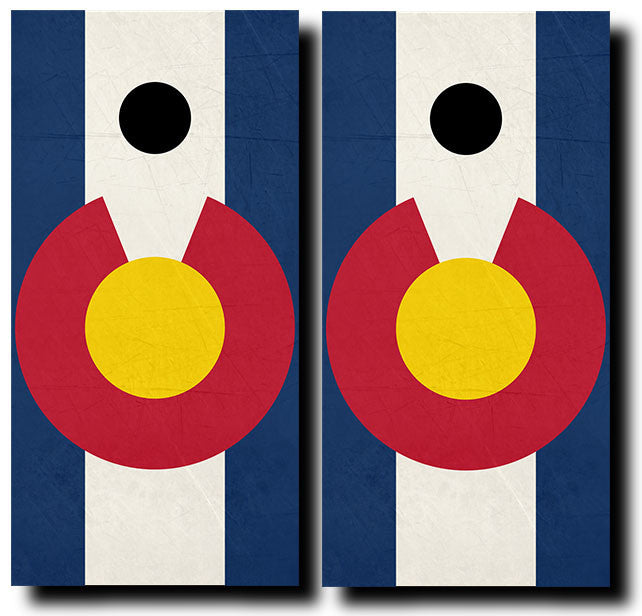 COLORADO GRUNGE FLAG 3/4 hardwood tournament grade cornhole set with matching bags - BG Boards and Graphics LLC  - 2