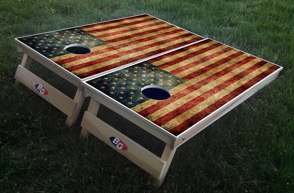 AMERICAN GRUNGE FLAG 3/4 hardwood tournament grade cornhole set with matching bags - BG Boards and Graphics LLC  - 1