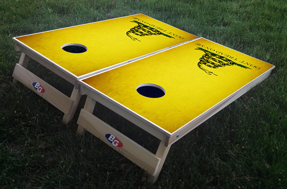 DON'T TREAD ON ME 3/4 hardwood tournament grade cornhole set with matching bags - BG Boards and Graphics LLC  - 1