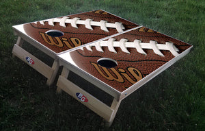 FOOTBALL 3/4 hardwood tournament grade cornhole set with matching bags - BG Boards and Graphics LLC  - 1