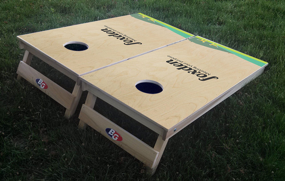 CUSTOMER DESIGNED 3/4 hardwood tournament grade cornhole set with matching bags - BG Boards and Graphics LLC  - 3